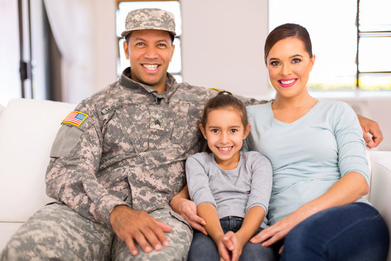 american military family relaxing